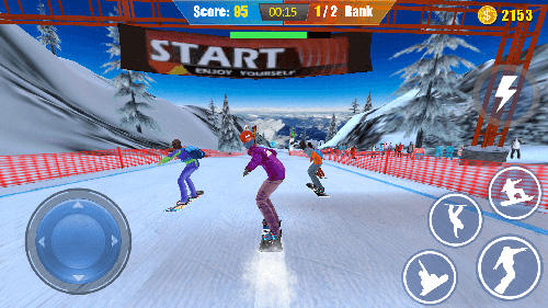 Gameplay of the Snowboard freestyle skiing for Android phone or tablet.