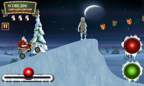Gameplay of the Santa rider for Android phone or tablet.