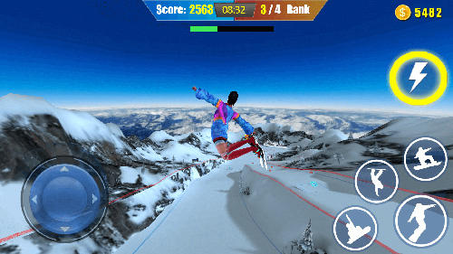 Snowboard freestyle skiing - Android game screenshots.