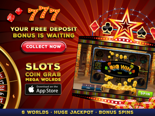 Download Slots: Coin Grab Mega Worlds iPhone Arcade game free.