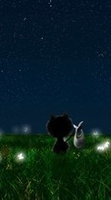 New 320x480 mobile wallpapers Landscape, Cats, Grass, Night, Moon, Drawings free download.