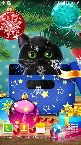 Download Christmas cat free Holidays livewallpaper for Android phone and tablet.