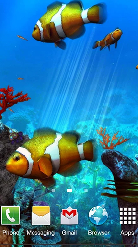Download Clownfish aquarium 3D free Aquariums livewallpaper for Android phone and tablet.