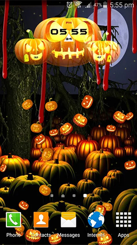 Download Halloween: Clock free With clock livewallpaper for Android phone and tablet.