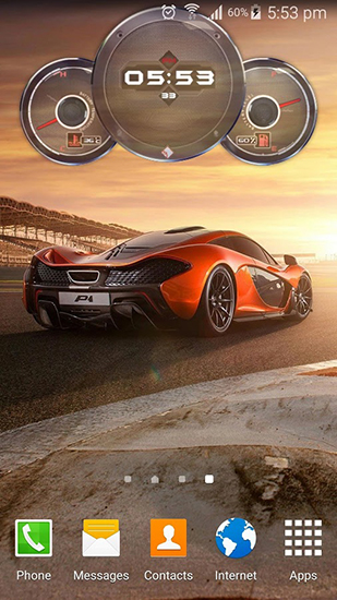 Download livewallpaper Cars clock for Android.