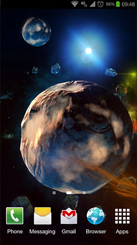 Screenshots of the live wallpaper Deep space 3D for Android phone or tablet.