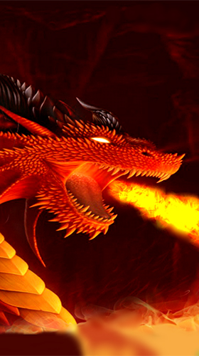 Screenshots of the live wallpaper Fire dragon 3D for Android phone or tablet.