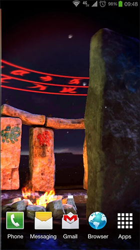 Screenshots of the live wallpaper Stonehenge 3D for Android phone or tablet.