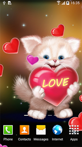 Full version of Android apk livewallpaper Cute cat by Live Wallpapers 3D for tablet and phone.